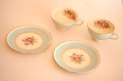 """Vintage tea cup and saucer set of 2 Homer Laughlin """"Georgia"""" pattern, egg shell"""