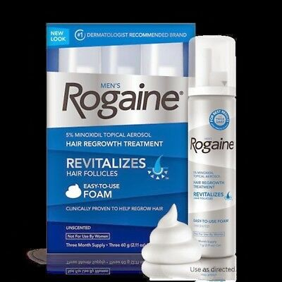 Rogaine Hair Regrowth Men 5% Minoxidil Topical Foam 3 month supply exp 07/2019