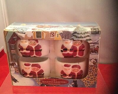Publix Season's Greetings Santa And Mrs Claus Napkin Rings Set Of 4