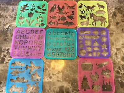 Vintage Tupperware TUPPERTOYS Stencil Art Set Of 8  Holiday Animals Letters More