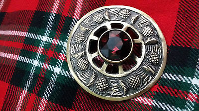 TC Kilt Fly Plaid Brooch Thistle Design Purple Stone Antique/Highland Brooches