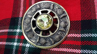 "TC Scottish Kilt Fly Plaid Brooch Antique Thistle Design Yellow Stone 3""/Brooch"