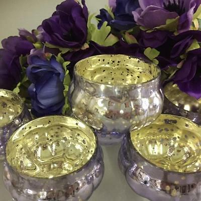 NEW Set 6 LAVENDER Mercury Glass Pumpkin Tea Light Holders Christmas Weddings