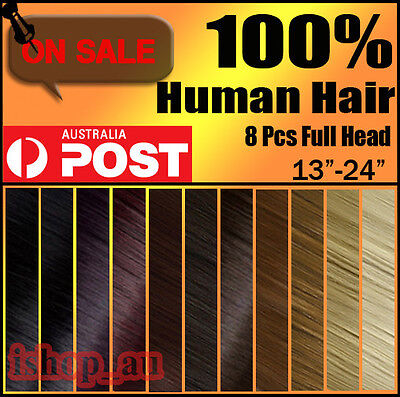 """NEW 20""""22""""24"""" CLIP IN REAL REMY HUMAN HAIR EXTENSIONS EXTENSION ANY LENGTH iz"""
