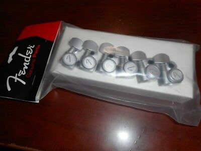 "NEW - Fender Locking Tuners, ""F"" Logo - BRUSHED CHROME, 099-0818-000"
