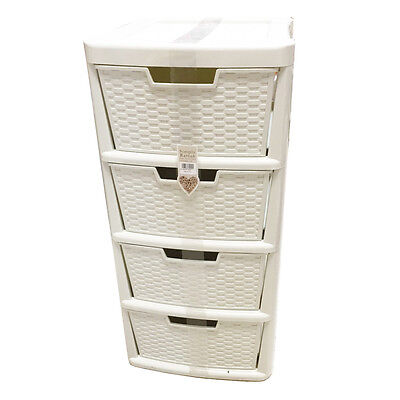 Simply Rattan 4 drawers Tower Cabinet Bookstand Cream Plastic Storage Unit