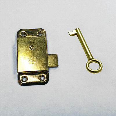 2x 2.5 Inch Brass Door Lock & Key For Wardrobes, Cupboards Cabinets Drawers