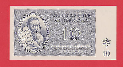 Germany Camp Theresienstadt Ghetto 10 Kronen 1943 Jewish RARE LAGER NOTE UNC !