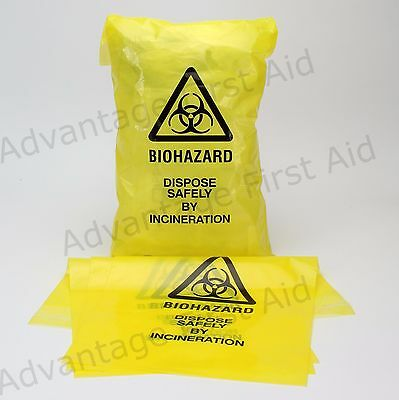 Bio-Hazard Self Seal Yellow Clinical Waste Disposal Bags 20cm x 35cm Qty 100