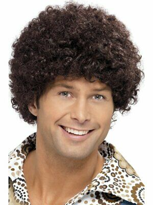 Adult Mens 70's Brown Disco Dude Afro Wig Smiffys 1970's Disco Fancy Dress
