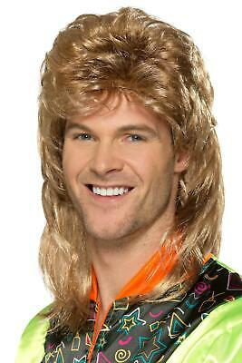1980's Jason Donovan Icon Brown Mullet Wig Fancy Dress Costume Accessory