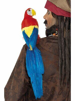 Shoulder Pirate Parrot Lifelike With Elastic Holder Smiffys Fancy Dress Costume
