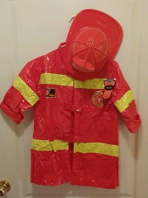 Fire Fighter Fireman Costume Kids New One Size Age Grade 3+