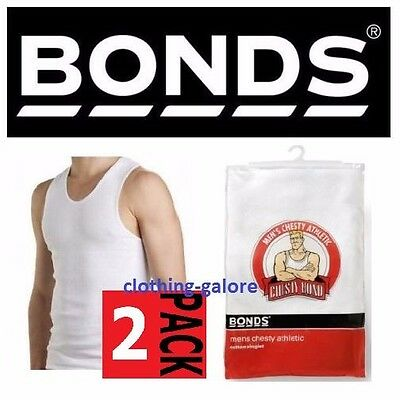 Bonds 2 Pack White Chesty Cotton Singlets Tee Underwear Men's Mens Singlet Vest