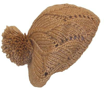 Papillon Hand Knit Twist Pattern Winter Beret  W/Large Pom Pom, Hat  # 830 Tan