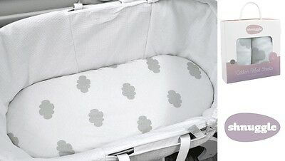 Shnuggle Luxurious 100% Cotton Jersey Moses Basket Fitted Sheets Gift Pack