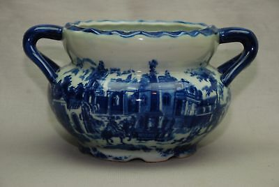"""VICTORIA WARE IRONSTONE BLUE & WHITE FLOW BLUE Double HANDLED BOWL 9.75x5.5"""""""