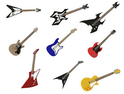 9 Guitars Machine Embroidery Designs set for 5x7 hoop