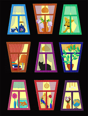 Windows Quilt Blocks Applique Machine Embroidery Designs