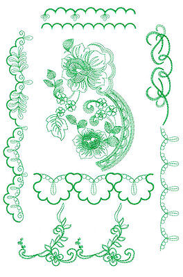 Rose and borders: 10 Machine Embroidery Designs 5x7