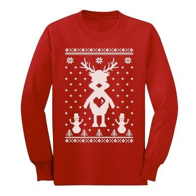 Reindeer Love Ugly Christmas Sweater - Perfect for Xmas Long sleeve kids T-Shirt