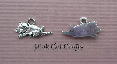 10 x Tibetan Silver CAT RELAXING ON BACK Charms Pendants Beads