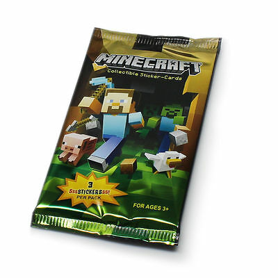 Minecraft Collectible Sticker Cards - 1 x New and Sealed Pack (3 cards)