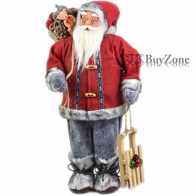 "18"" Large Standing Father Christmas Santa Claus Figure Xmas Tree Decoration"