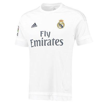 adidas Childrens Real Madrid Football Home Shirt Jersey T-Shirt Top 15/16 White