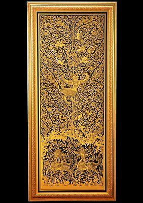 Thai Art Black lacquer Gilt Decorated image Garuda in Himmaphan Free shipping