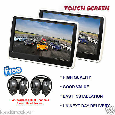 "10.1""Twin HD Digital Touch Screen Car Headrest DVD/USB Player Free IR headphones"