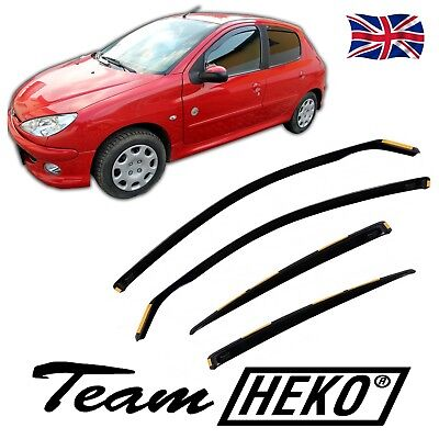 DPE26113 PEUGEOT 206 206+ HTB 5 DOOR 1998-2005 WIND DEFLECTORS 4pc HEKO TINTED