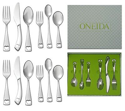 Set of 2 Oneida Little Love 6 Piece Child & Baby 18/10 Stainless Flatware Set