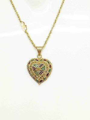 """New 18k 22k 23k 24k Beautiful Indian Heart GoldPlated Pendant 21"""" Necklace Chain"""