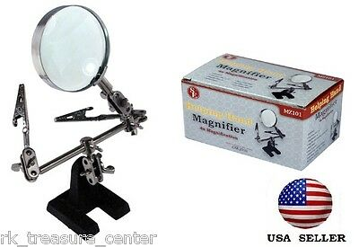 Helping Hand 4X Magnifying Glass w/ 2 Arms Clips Heavy Base Stand - Free US Ship