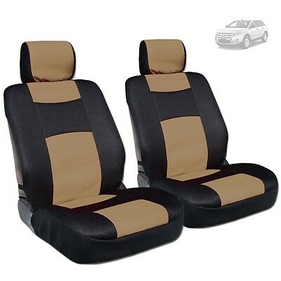 New Pair Black Mesh And Tan Synthetic Leather Front Car Seat Covers For Ford