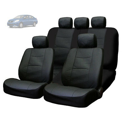 For Nissan New Premium Breathable Black Synthetic Leather Car Seat Covers Set