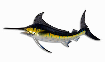 "Hand Painted 28""  Striped Blue Marlin Salt Water Fish Wall Mount Decor Sculpture"