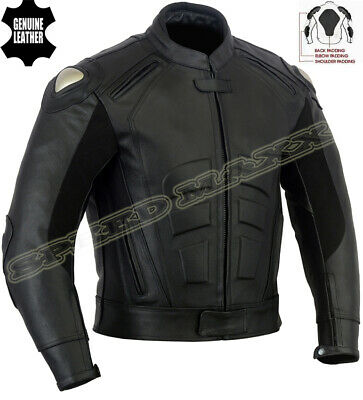 Speed Icon Mens Premium Black Ce Armour Motorbike / Motorcycle Leather Jacket
