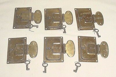 Art Deco Tin Lot 6 Trunk Secret Box Furniture Locks With Keys! Never Used