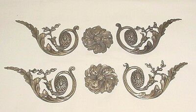 Antiq Bronze Lot 6 Decorative Furniture Garlands Rosette Appliques France