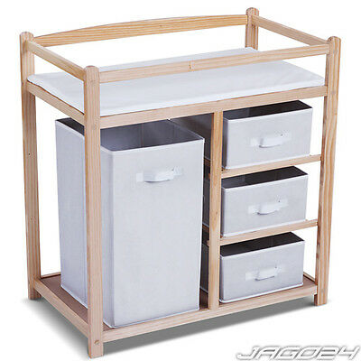 Baby Changing Table Unit Station Storage Drawers Padded Mat Nursery Toddler New