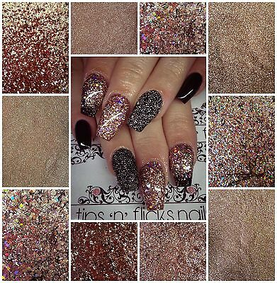 Nail Glitter Mixes Rose Gold For Acrylic Gel Nail Art .004 .008 Multi Cut .040