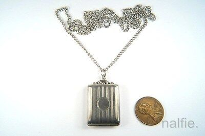 Antique English Edwardian Sterling Silver Stamp Case / Holder Locket & Chain