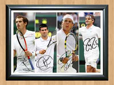 Rafael Nadal Roger Federer Andy Murray Novak Djokovic Signed Autograph A4 Photo