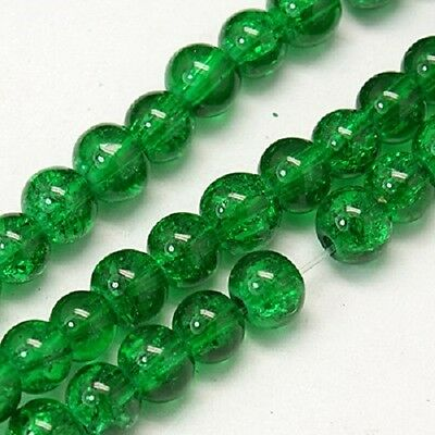 200 x Green Crackle Glass Beads Jewellery Craft  - 4mm - LB1258