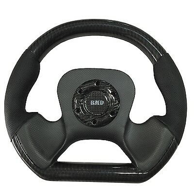 Steering Wheel 320mm Diameter D Shape Natural Carbon with Leather & Carbon Rim