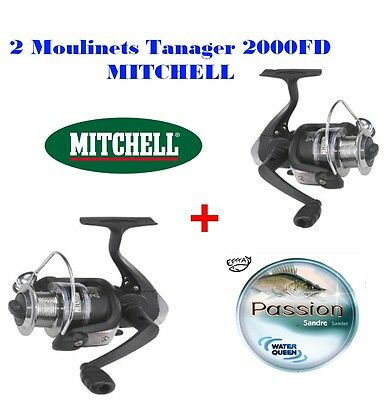 2 moulinets MITCHELL Tanager 2000FD + nylon 450m   Truite Carnasier Carpe