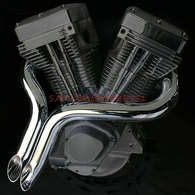 """Chrome 2"""" Big Growl Short Shots Drag Exhaust Pipes Softail Touring Harley  86-14"""