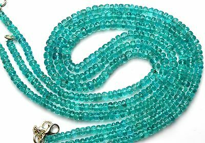 """Natural Gem Green Apatite 4-7MM Facet Beads Necklace Colombian Emerald Color 17"""""""